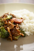 Chinese Broccoli Chicken with White Rice