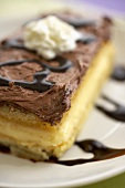 Piece of Boston Cream Pie; Close Up