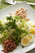 Cobb Salad on a White Plate; From Above