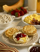 Southern Style Biscuits with Butter and Jam on Breakfast Table