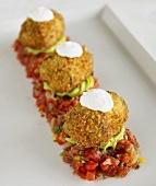 Stuffed Zucchini Poppers On Tomato Salsa and Avocado