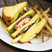 Lobster Club Sandwich with French Fries