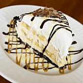 Slice of Banana Cream Pie with Chocolate Drizzles (USA)