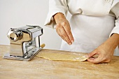 Making Pasta: Dusting a Sheet of Pasta with Flour