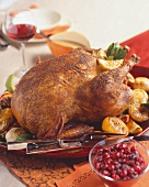 Whole Roast Chicken with Lemons; Cranberry Sauce