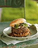 Burger with Blue Cheese and Grilled Onions
