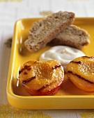 Grilled Peach Halves; Cream and Biscotti