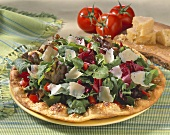 Salad with Shaved Parmesan Cheese on Crispy Flatbread