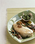 Halibut with Green Beans and Mushrooms