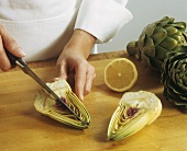 Chef Cutting an Artichoke