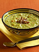 Bowl of Split Pea Soup with Bacon