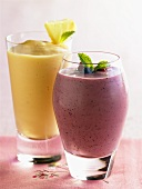 Mango and Berry Smoothies in Glasses