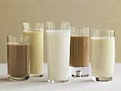 Glasses of Various Milk Alternatives
