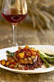 Grilled Chicken Topped with Peach Salsa; Asparagus on the Side