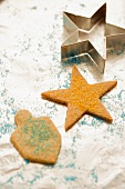 Two Cut-Out Decorated Sugar Cookies; Dreidel and Star; Cookie Cutter