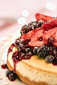 Cheesecake with Berry Topping; Close Up