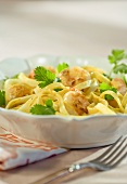 Bowl of Shrimp with Fettuccini; Fresh Parsley