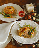 Filets of Beef en Croute with Snap Peas and Carrots