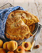 High Rise Peach Pie on a Cooling Rack
