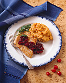 Turkey Cutlet with Chunky Cranberry Sauce and Sweet Potatoes