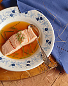 Poached Salmon with Dill in Broth