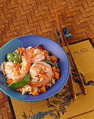 Shrimp and Vegetable Stir Fry with Rice in a Bowl