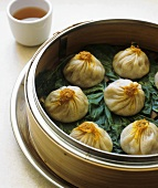 Crab and Pork Soup Dumplings in a Steamer