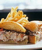 Lobster Roll; Halved with French Fries