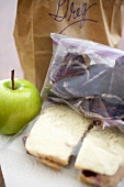Brown Bag Lunch, Peanut Butter and Jelly Sandwich with an Apple
