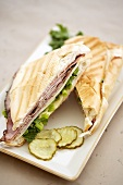 Toasted Ham and Cheese Panini with Pickles