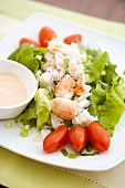 Lobster Salad on a Plate with Dressing on the Side