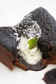 Piece of Lava Cake Split Open, Close Up