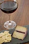 Glass of Pinot Noir, Obbiaco Del Pave Cheese and Crackers