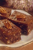Pecan Brownies, Each Topped with One Whole Pecan