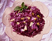 Red Cabbage and Pear Salad on a Flower Plate, From Above