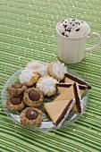 Plate of Assorted Christmas Cookies, Mug of Hot Chocolate
