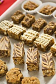 Bite-Size Dessert Bars and Cookies on a Baking Sheet