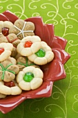 Christmas Press Cookies in a Bowl
