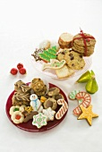 Assortment of Christmas Cookies, Christmas Ornaments, White Background