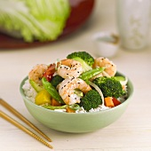 Asian Shrimp and Vegetables Over Rice in a Bowl, Chopsticks