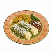 Plate of Cheese Enchiladas with Salsa Verde, Beans and Rice, White Background