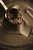 Spoon Scooping Chocolate Fudge
