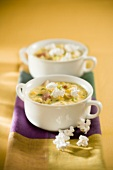 Two Soup Bowls of Corn Chowder with Popcorn
