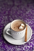 Cup of Hot Chocolate with Marshmallows and Cinnamon, Cinnamon Sticks