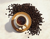 Cup of Coffee with Coffee Beans; From Above