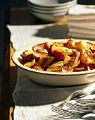 Serving Bowl of Roasted Vegetables; Forks