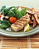 Grilled Halibut with Oven Fries and Spinach Salad