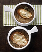 Two Bowls of French Onion Soup; From Above