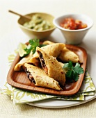 Black Bean and Cheese Taquitos with Guacamole and Salsa