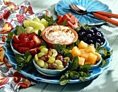 Fruit Tray with Bowls of Fruit and Cottage Cheese